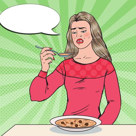 Popart vrouw eet soep met walgelijk gezicht. Smaakloos eten.