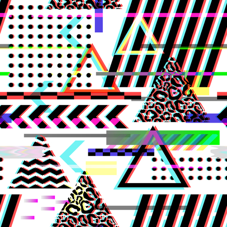 Seamless Pattern Glitch Design. Cyberpunk Digital Background with Geometric Gradient Elements.