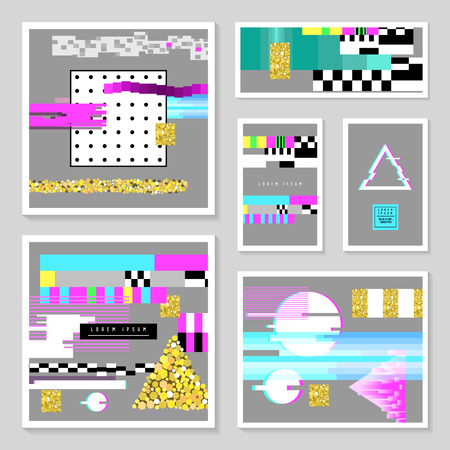 Glitch Design Poster Templates Set. Cyberpunk Digital Background with Geometric Gradient Elements.