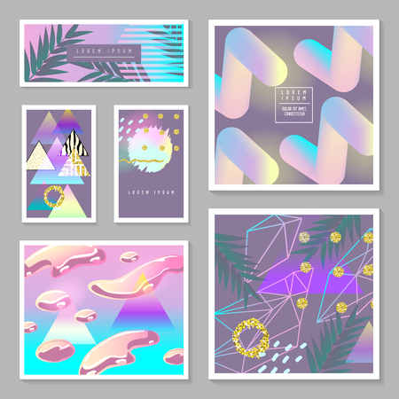 Liquid Abstract Templates Set. Fluid Colors with Golden Glitter Geometric Elements. Tropical Poster, Banner, Cards, Brochure, Cover, Flyer Backgrounds. Vector illustration