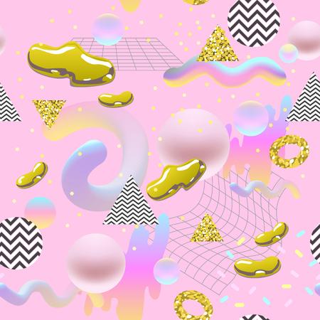 ゴールデングリッター要素を持つ抽象的なシームレスなパターン。ポスター、カバー、バナーのための流体分子形状を持つ未来的な背景。ベクトル  イラスト・ベクター素材