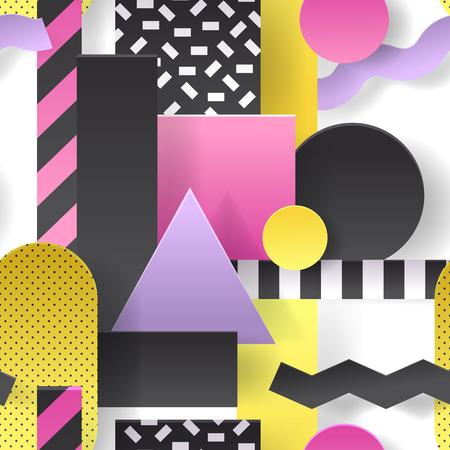 幾何学的形状のシームレスなパターンを切り取った用紙。ポスター、表紙、パンフレットの抽象的な背景。ベクトルイラスト
