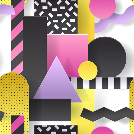 Paper Cut Out Seamless Pattern with Geometric Shapes. Abstract Background for Poster, Cover, Brochure. Vector illustration