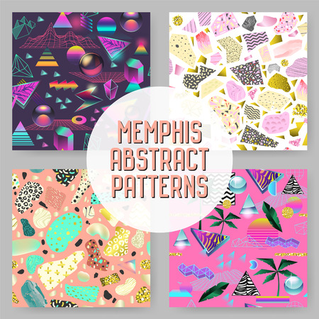 Abstract Futuristic Seamless Patterns Set. Geometric Shapes with Golden Elements Background. Vintage Hipster Fashion 80s-90s Design. Vector illustration