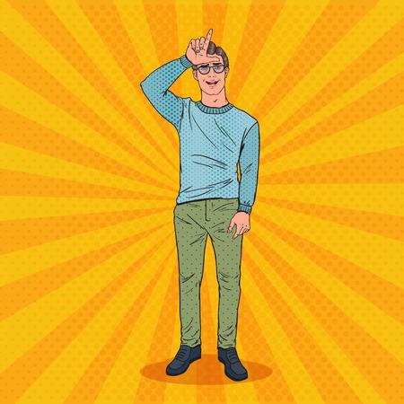 Pop-Art-Mann, der Verlierer-Zeichen auf Stirn zeigt. Negativer menschlicher Gefühls-Gesichtsausdruck. Vektor-illustration