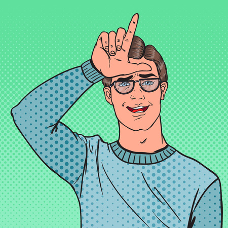 Pop Art Portrait of Man Showing Loser Sign on Forehead. Negative Human Emotion Facial Expression. Vector illustration