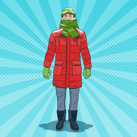 Pop Art Frozen Man in Warm Winter Clothes. Cold Weather. Vector illustration Vectores