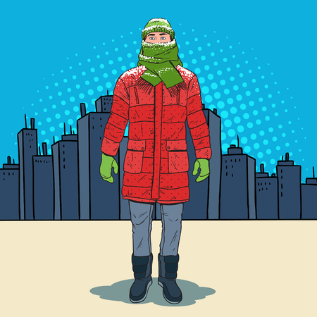 Pop Art Frozen Man in Warm Winter Clothes in the City. Cold Weather. Vector illustration Vectores