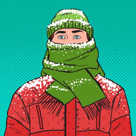 Pop Art Portrait of Frozen Man in Warm Winter Clothes. Cold Weather. Vector illustration Illustration