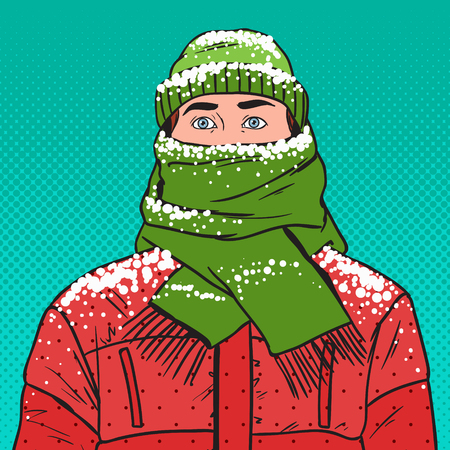 Pop Art Portrait of Frozen Man in Warm Winter Clothes. Cold Weather. Vector illustration Stock Illustratie