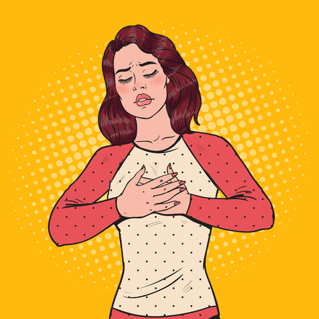 Pop Art Sad Frustrated Woman Having Heart Ache with Hands on her Chest. Vector illustration Illustration