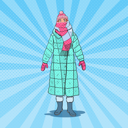 Pop Art Beautiful Woman in Warm Winter Clothes Outdoor. Cold Weather. Vector illustration