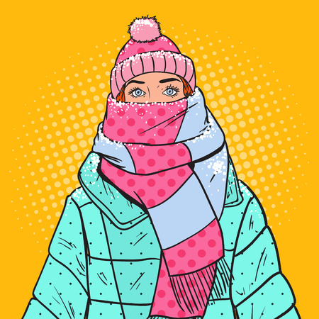 Pop Art Portrait of Beautiful Woman in Warm Winter Clothes. Cold Weather. Vector illustration Фото со стока - 94315159