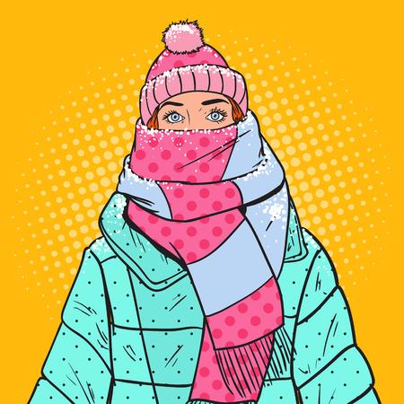 Popart portret van mooie vrouw in warme winterkleren. Koud weer. Vector illustratie