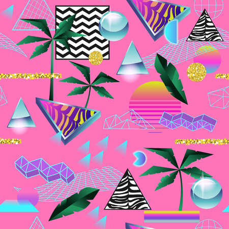 Synth Wave Tropical Seamless Pattern. Futuristic Background with Neon Glowing Geometric Elements. Holographic Design for Posters, Banners, Fabric. Vector illustration Ilustrace