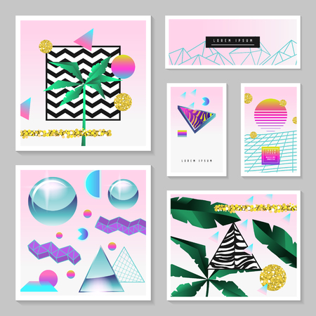 Synth Wave Tropical Poster Set. Futuristic Background with Geometric Elements. Holographic Design for Posters, Banners, Fabric. Vector illustration Ilustrace