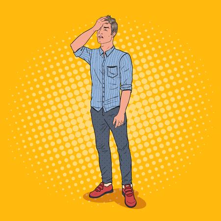 Popart benadrukt man die zijn gezicht bedekt met de hand. Negatieve emotie gezichtsuitdrukking. Vector illustratie