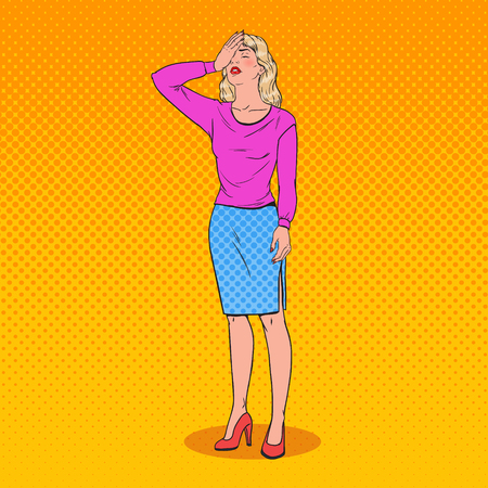 Pop art confused young woman covering her face with hands. Facial expression negative emotion. Vector illustration.