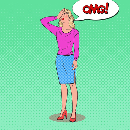 Pop art frustrated young woman covering her face with hands. Facial expression negative emotion. Vector illustration.