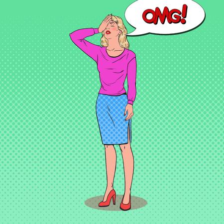 Popart gefrustreerde jonge vrouw die haar gezicht bedekt met handen. Gelaatsuitdrukking negatieve emotie. Vector illustratie