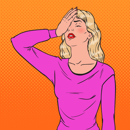 Pop art ashamed young woman covering her face with hands. Facial expression negative emotion vector illustration.