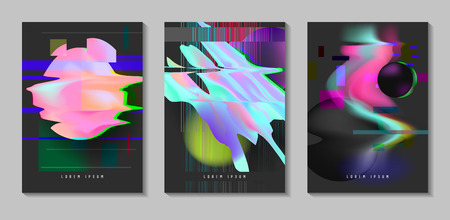 Posters, covers with glitch effect and liquid fluid shapes. Abstract hipster design set for placard, banner, flyers. Vector illustration.