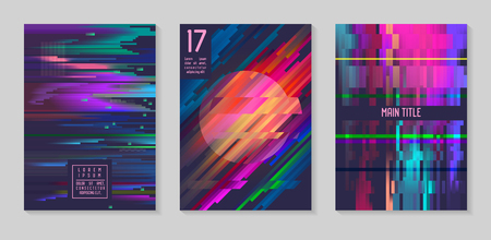 Glitch futuristic posters, covers set. Hipster design compositions for brochures, flyers, placards trendy template vector illustration.
