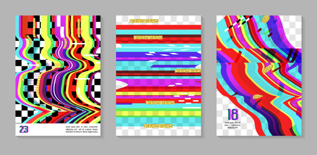 Glitch futuristic posters, covers set. Hipster design compositions for brochures, flyers, placards. Trendy template. Vector illustration.