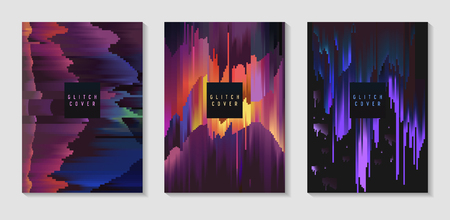 Abstract Design Set in Glitch Style. Trendy Background Templates with Geometric Shapes for Posters, Covers, Banners, Flyers, Placards. Vector illustration