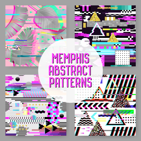Seamless Patterns Set Glitch Design. Cyberpunk Digital Backgrounds with Geometric Gradient Elements. Abstract Composition for Fabric Fashion 80s-90s, Posters, Cover. Vector illustration Illustration