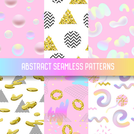 Abstract Seamless Patterns Set with Golden Glitter Elements. Futuristic Background with Fluid Molecular Shapes for Poster, Cover, Banner. Vector illustration