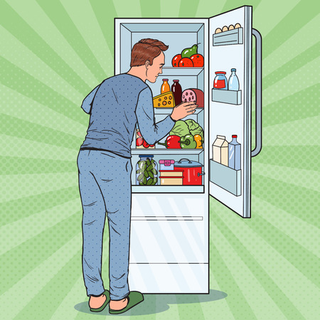 Pop Art Happy Man Looking Inside Fridge Full of Food. Refrigerator with Dairy Products. Vector illustration