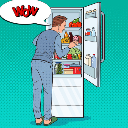 Pop Art Happy Man Looking Inside Fridge Full of Food. Guy with Refrigerator with Dairy Products. Vector illustration