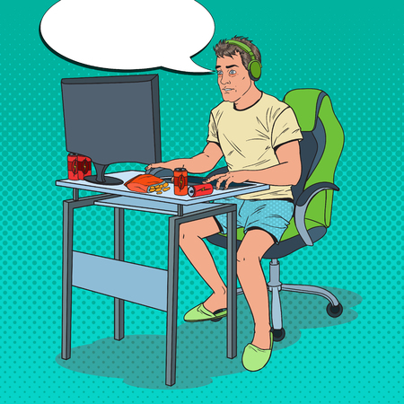Pop Art Exhausted Man Playing Video Games. Computer Addicted Guy. Vector illustration