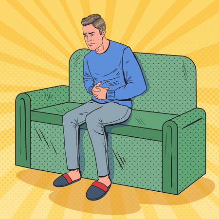 Pop Art Unhappy Man Suffering from Stomach Ache. Sick Guy Sitting on Couch at Home. Vector illustration Standard-Bild - 95251573