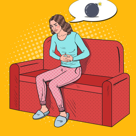Pop Art Sick Woman Hurts from Stomach Ache. Abdominal Pain. Vector illustration
