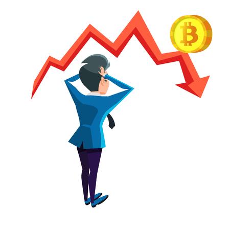 Shocked Businessman Looking on Bitcoin Crash Graph. Cryptocurrency Market Concept. Vector illustration Illustration