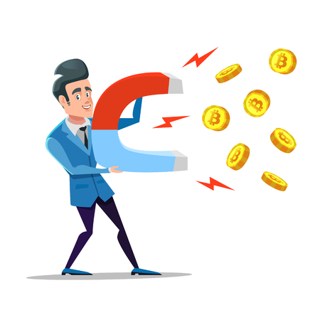 Successful Businessman Mining Bitcoin with Big Magnet. Crypto Currency Market Concept Vector illustration