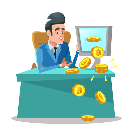 Successful Businessman Mining Bitcoin on Computer. Cryptocurrency Trading Concept Vector illustration Vectores