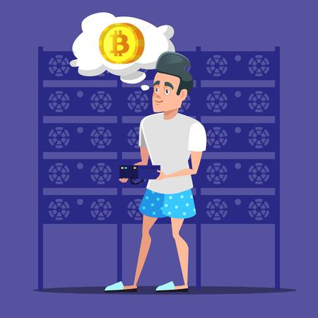 Young Cartoon Man Bitcoin Miner in Server Room. Cryptocurrency Mining Farm. Vector illustration Иллюстрация