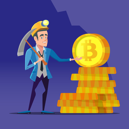 Successful cartoon bitcoin miner with pick-axe and golden coins. Crypto-currency market concept. Vector illustration