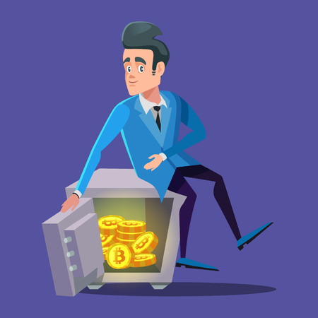 Happy Businessman Sitting on Safe Full of Bitcoin. Crypto Currency Security Technology Vector illustration Stock Vector - 95801200