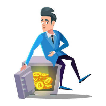 Happy Businessman Sitting on Safe Full of Bitcoin. Crypto Currency Security Technology Vector illustration Stock Vector - 95801206