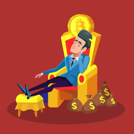 Rich Successful Businessman Sitting on Throne with Bitcoin and Money Stacks. Cryptocurrency Market Concept. Vector illustration Illustration