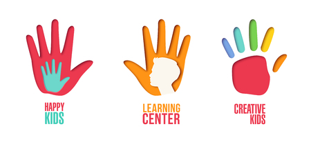 Papier herausgeschnittene Logoschablone eingestellt mit den Kinderhänden. Origami scherzt Symbole für das Einbrennen, Broschüre, Identität. Vektor-illustration Standard-Bild - 96659388