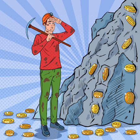 Pop art male miner in helmet with pick-axe mining bitcoin coins. Crypto-currency block-chain network technology.