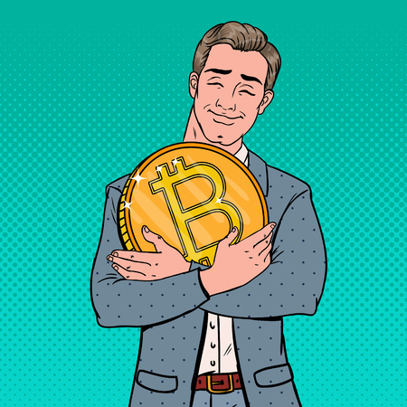 Pop art young businessman holding big bitcoin coin. Crypto-currency decentralized technology.