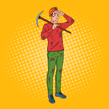 Pop Art Male Miner in Helmet with Pick axe vector illustration