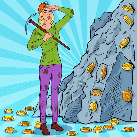 Pop Art Woman in Helmet with Pickaxe Mining Bitcoin Coins. Crypto Currency Blockchain Network Technology Vector illustration Stock Illustratie
