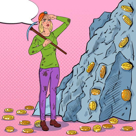 Pop Art Woman in Helmet with Pickaxe Mining Bitcoin Coins. Crypto Currency Blockchain Network Technology Vector illustration Illustration